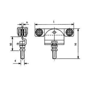 Schéma pojezdového produktu HELM na posuvné dveře - dvoupárový