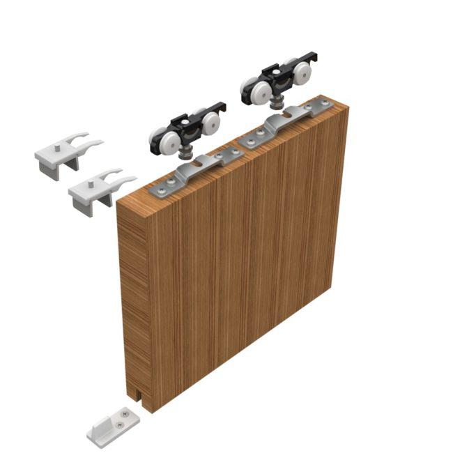 Sada kování pro posuvné dveře HELM 150, stříbrně eloxovaný hliník do 170 kg