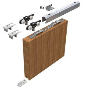 Sada kování pro posuvné dveře HELM 53, stříbrně eloxovaný hliník do 50 kg
