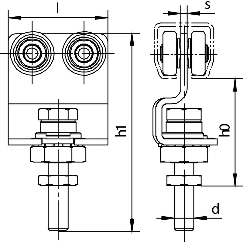 Schéma pojezdového produktu HELM na posuvné dveře - jednopárový s otočným šroubem