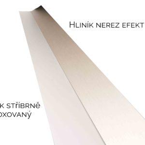 hliník nerez, hliník stříbně eloxovaný, krycí profil